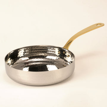 Hammered Stainless Steel Fry Pan with Brass Handle - 18 Oz.
