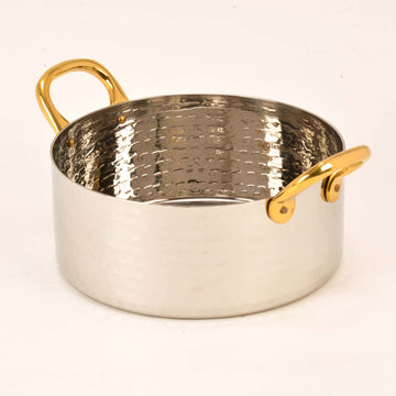 Hammered Stainless Steel Sauce Pan with Brass Wire Handles - 28 Oz.