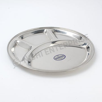 Stainless Steel Round Thali Mess Tray 4 Compartment