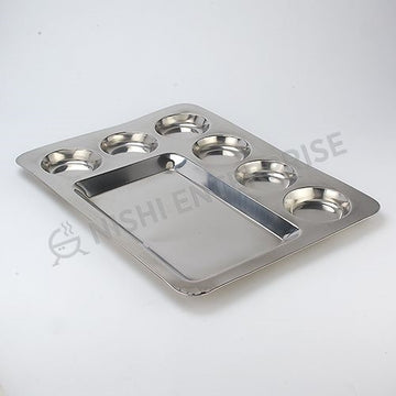 Stainless Steel Rectangular Mess Tray 16""