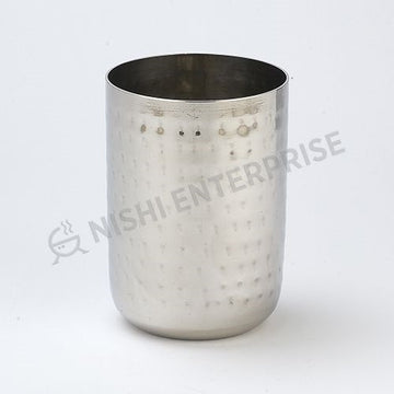 Hammered Stainless Steel Water Glass - Tin Cup-  10 Oz.