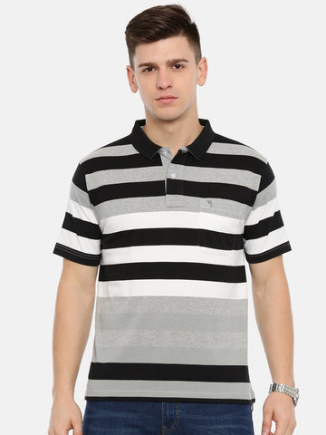 Men's Black with multi colour stripes T-shirt