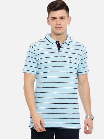 Men's Sky blue with multi-color auto stripes polo t-shirt