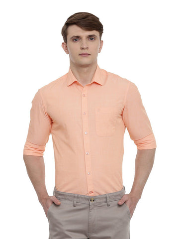 Light Orange Full Sleeve Cotton Shirt