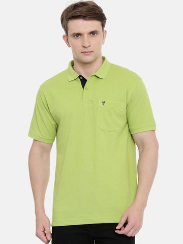 Parrot Green Polo Neck T-Shirt