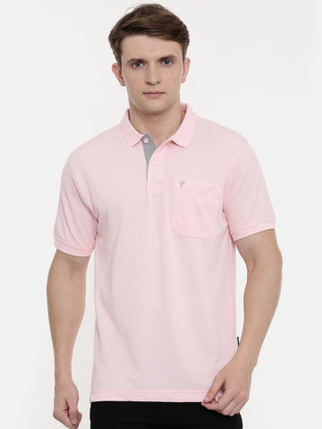 Light Pink Polo Neck T-Shirt