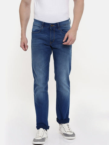 Blue Cotton Jeans Slim Fit