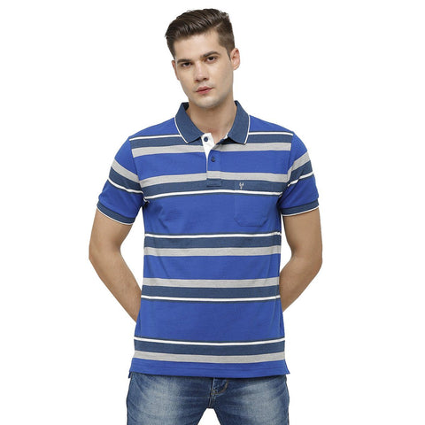 Classic Polo Mens Polo Collar Half Sleeve Multicolor Slim Fit Enriched Cotton T-shirt ( ADORE - 145 B SF P_M )