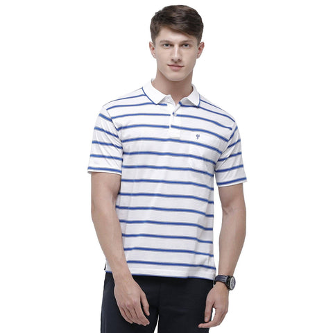 Classic polo Men's Polo Neck Half Sleeve White:Blue 100% Cotton T-Shirt (AP - 41 A AF P)