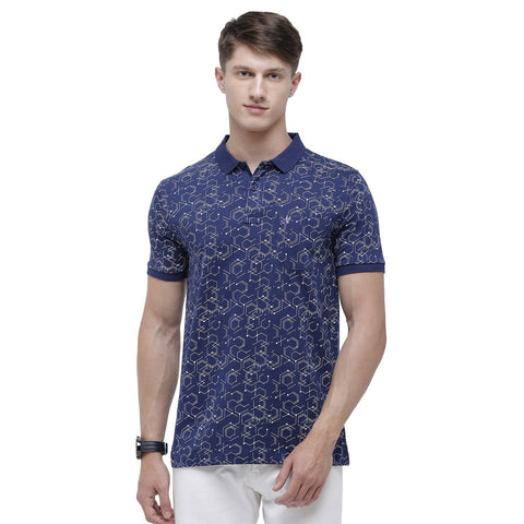 Classic polo Men's Polo Neck Half Sleeve Royal Blue 100% Cotton Slim Fit T-Shirt (BELLO - 124 A SF P)