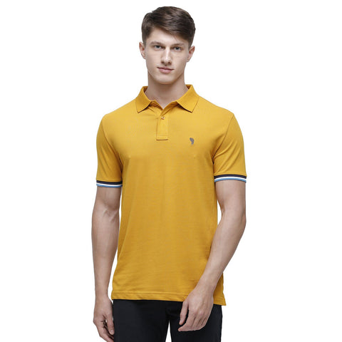 Swiss club Men's Round Neck Half Sleeve Mustard Cotton Slim Fit T-Shirt ( DELTA-G.YELLOW SF P )