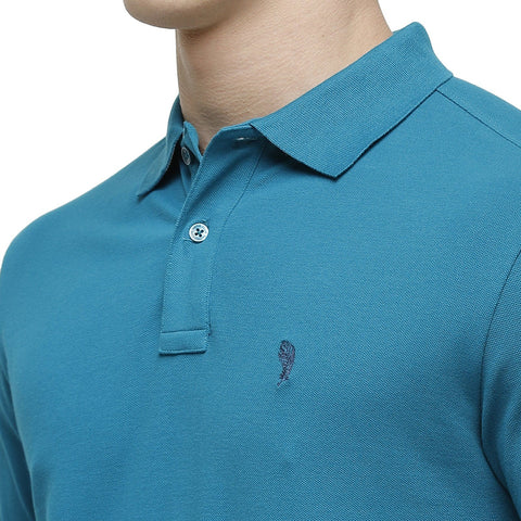 Swiss club Men's Round Neck Half Sleeve Turquoise Cotton Slim Fit T-Shirt (DELTA-OCEAN DEPTHS SF P)