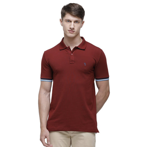 Swiss club Men's Round Neck Half Sleeve Maroon Cotton Slim Fit T-Shirt (DELTA-SYRAH SF P)