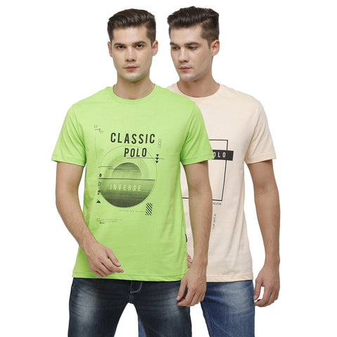 Classic Polo Mens Crew Neck Half Sleeve Peach & Green Slim Fit Single Jersey Pack of 2 T-shirt ( IRIS - 10 SF C_S )