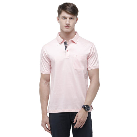 Swiss club Men's Polo Neck Half Sleeve Light Pink Cotton Regular Fit T-Shirt (LUXOS-CRYSTAL ROSE AF P)