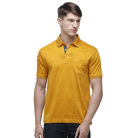 Swiss club Men's Polo Neck Half Sleeve Mustard Cotton Regular Fit T-Shirt (LUXOS-GOLDEN YELLOW AF P)
