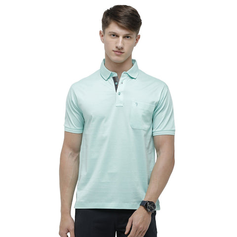 Swiss club Men's Polo Neck Half Sleeve Light Blue Cotton Regular Fit T-Shirt (LUXOS-GREEN AQUA AF P)
