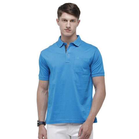 Swiss club Men's Polo Neck Half Sleeve Blue Cotton Regular Fit T-Shirt (LUXOS-PRO BLUE AF P)