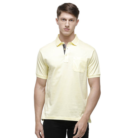 Swiss club Men's Polo Neck Half Sleeve Yellow Cotton Regular Fit T-Shirt (LUXOS-YELLOW AF P)