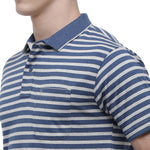 Classic polo Men's Polo Neck Half Sleeve Blue:Grey Cotton Regular Fit T-Shirt (MEL - 175 B AF P)