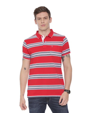 Classic polo Men's Polo Neck Half Sleeve Red Cotton Slim Fit T-Shirt (NITRO - 225 B SF P)