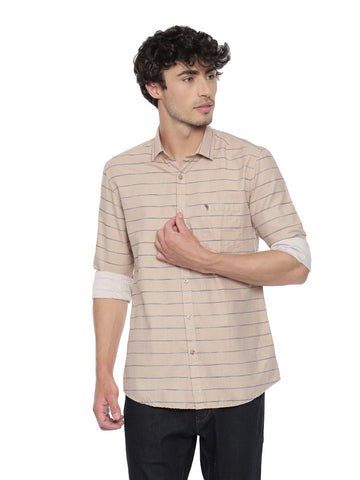 Swiss Club Mens  Stripes Casual Wear Full Sleeve Slim Fit Woven Shirt