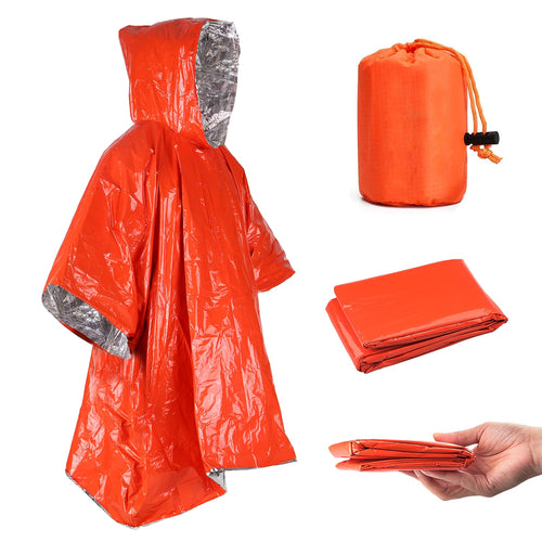JICS Orange Emergency Raincoat Aluminum Film Disposable Poncho Cold Insulation Rainwear-JUSTINCASESTUFF