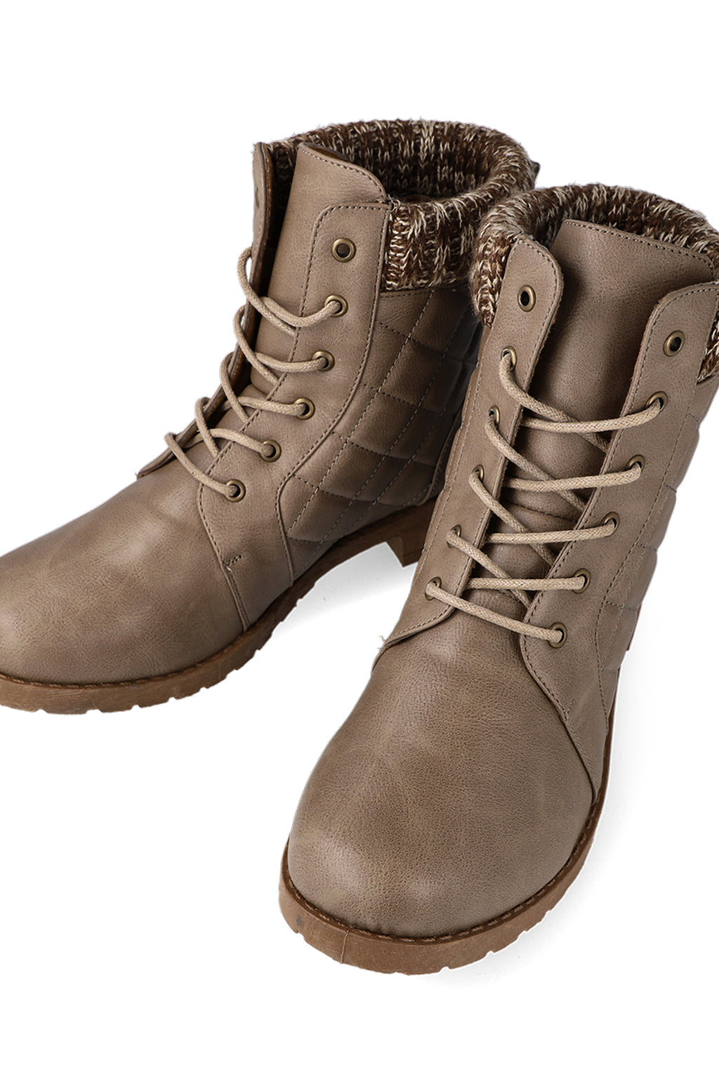 Dawson Knit Collar Lace Up Boot _ 112345 _ Taupe