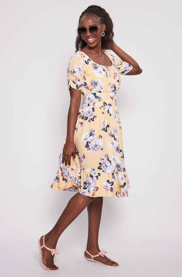 Lee Floral Dress _ 114790 _ Yellow