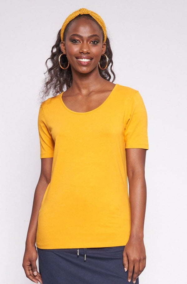 Catherine Stretch Tee _ 115021 _ Ocre