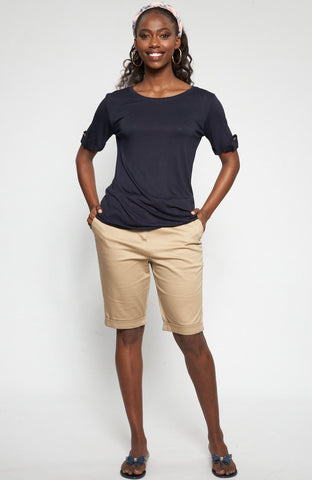 Paulina Basic Tee _ 115024 _ Navy