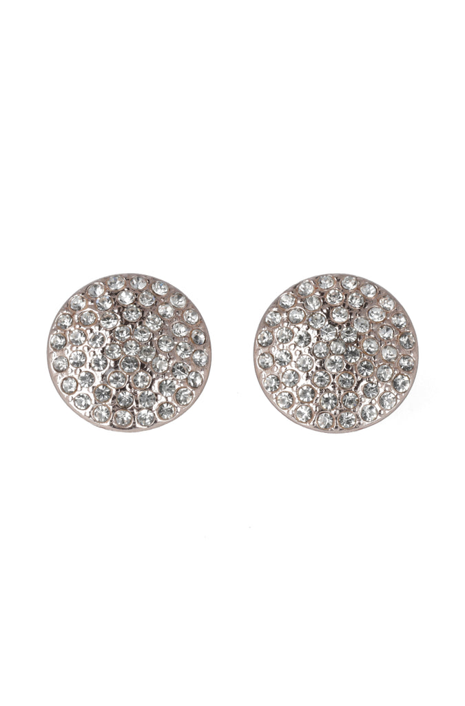 Madeline Round Diamante Earrings _ 115418 _ Rose Gold