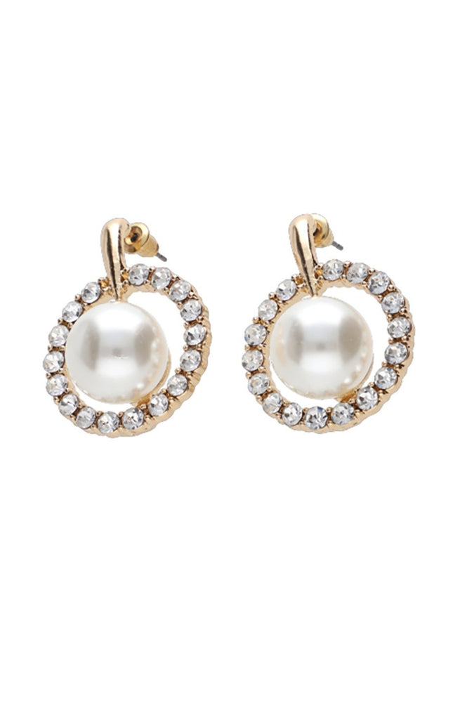 Belvoir Pearl Diamante Earrings _ 115843 _ Gold