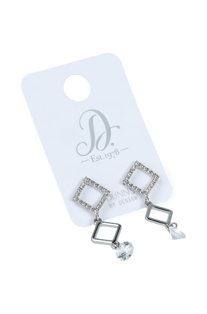 Shelly Drop Diamante Earrings _ 115850 _ Silver