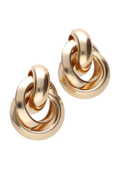 Alma Knot Statement Earrings _ 115846 _ Gold