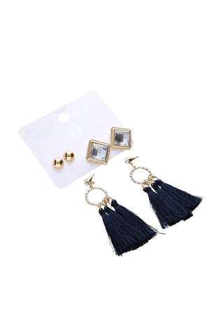 Sherry Stud And Tassel 3 Pack Earrings _ 115868 _ Gold
