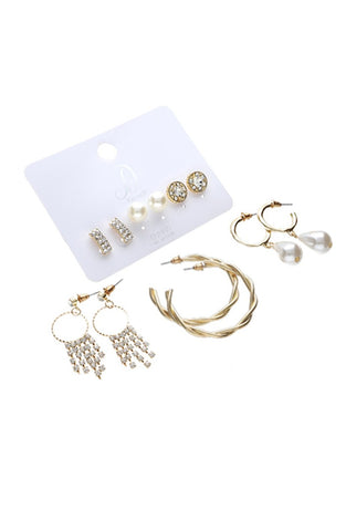 Lyn Pearl And Diamante 6 Pack Earrings _ 115876 _ Gold