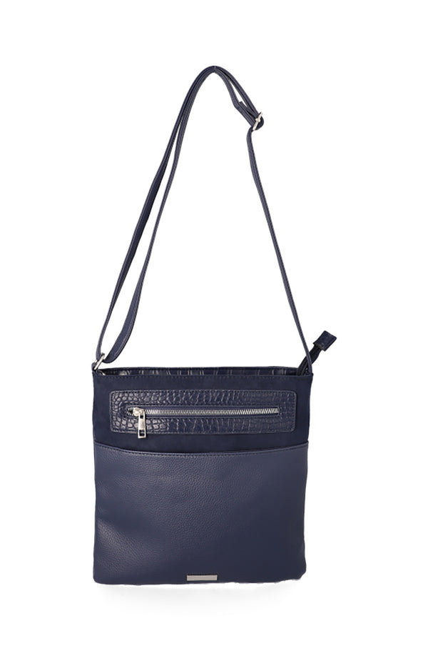 West Court Zipper Sling Handbag _ 115896 _ Navy