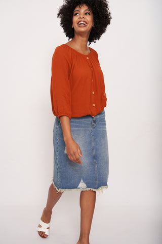 Kendzi Rip & Repair Denim Skirt _ 116451 _ Light Wash