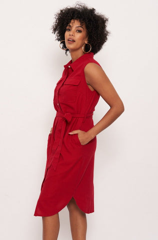 Genoa Linen Blend Shirt Dress _ 117949 _ Red