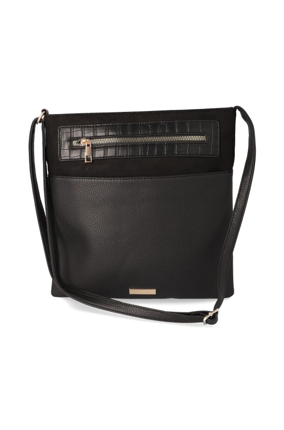 West Court Zipper Sling Handbag _ 117972 _ Black