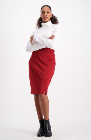 Mary Pencil Skirt _ 118737 _ Red