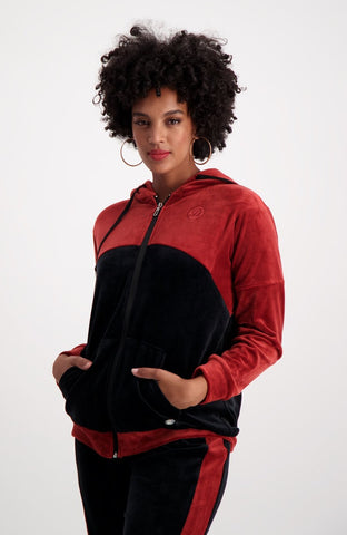 Sheila Colour Block Velour Hoody _ 119395 _ Black
