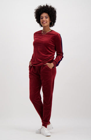 Trina Velour Sweat _ 119398 _ Burgundy