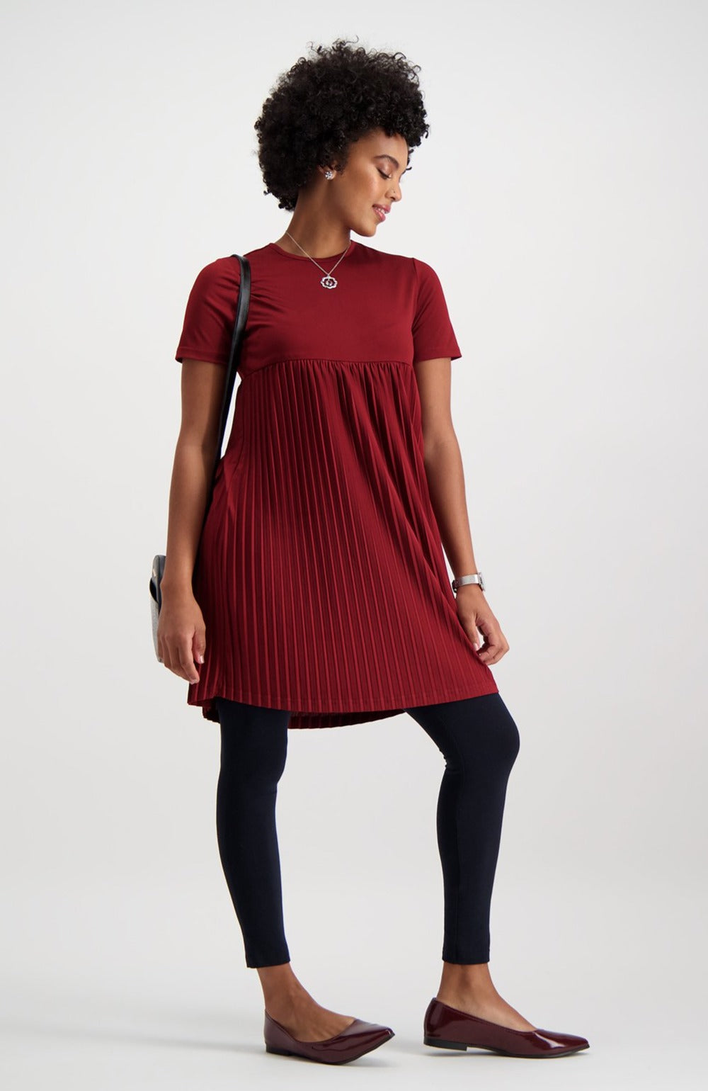 Hazel Pleated Tunic _ 119935 _ Burgundy