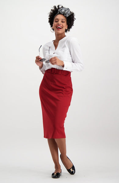 Wilmette Belted Skirt _ 120001 _ Red