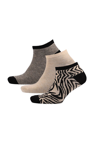 Cheyenne 3 Pack  Design/Plain/Stripe Low Cut Socks _ 120092 _ Ecru