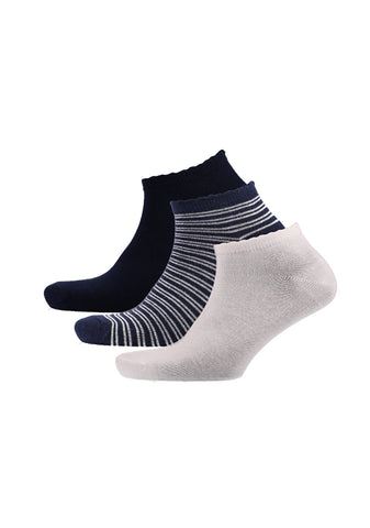 Cherry 3 Pack Stripe/Plain Low Cut Socks _ 120093 _ Navy
