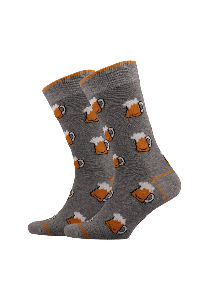 Beer Mugs Fun Single Socks _ 120235 _ Grey