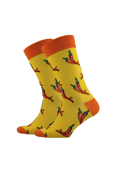Chilli Pepper Fun Single Socks _ 120236 _ Yellow